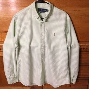 Ralph Lauren Green & White Striped Button Down